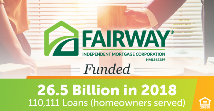 Fairway funded 26.5 Billion in 2018 text over a faded green and orange background